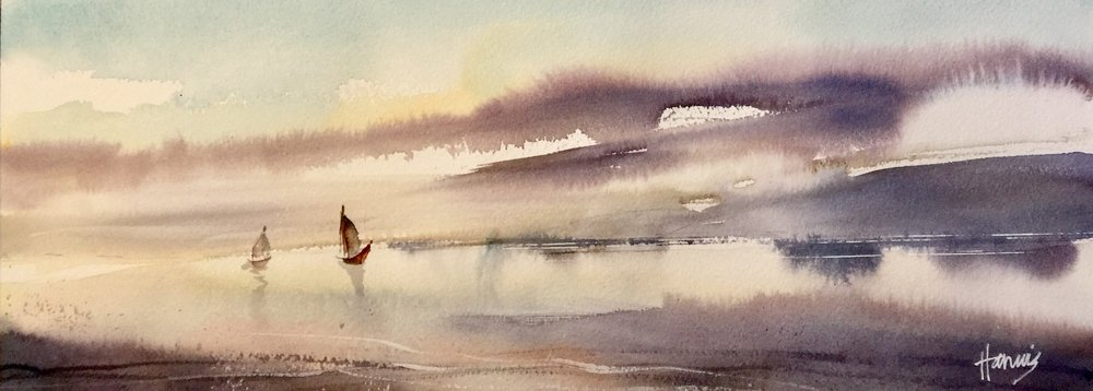 "Soft Winds, 16""x6"" watercolor"