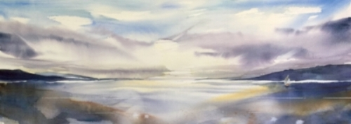 "Wequaquet Lake, Cape Cod, 32x15"" watercolor"