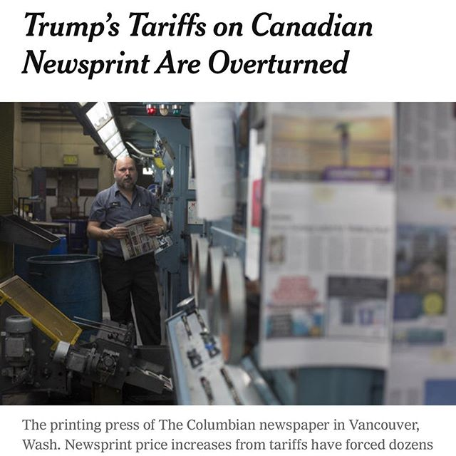 "From the @nytimes ""The United States International Trade Commission on Wednesday overturned a Trump administration decision to impose tariffs on Canadian newsprint, saying that American paper producers are not harmed by newsprint imports.  The unanimous decision by the five-member body eliminates tariffs that have been in effect since January, handing a win to small and medium-size newspapers, which have struggled to absorb the cost of higher newsprint and have made cuts, including layoffs, as a result."" #Boom #tariff"