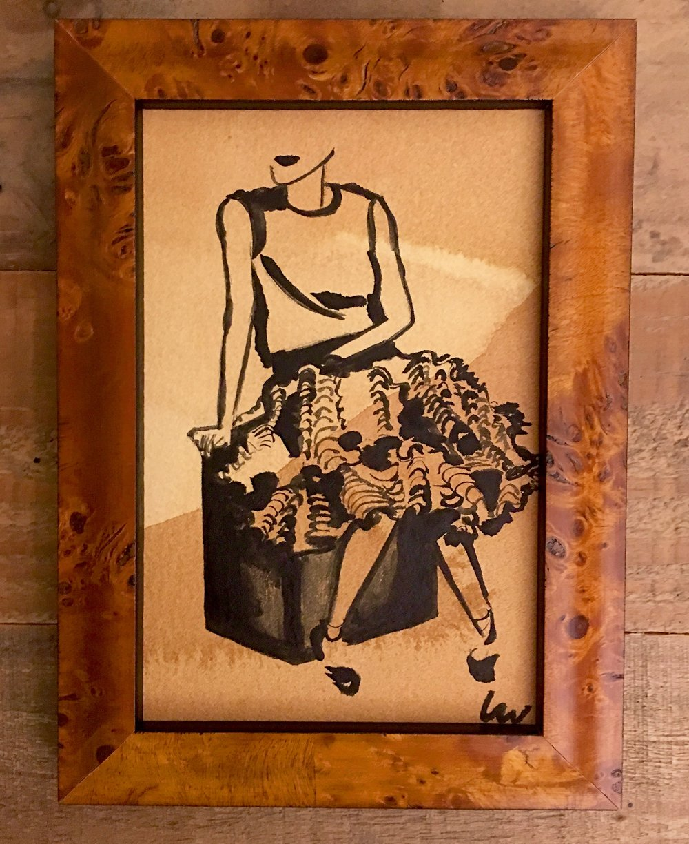 {p r i s c i l l a} - graphite & acrylic on tea stained cold press watercolor paper. custom burlwood frame4x6