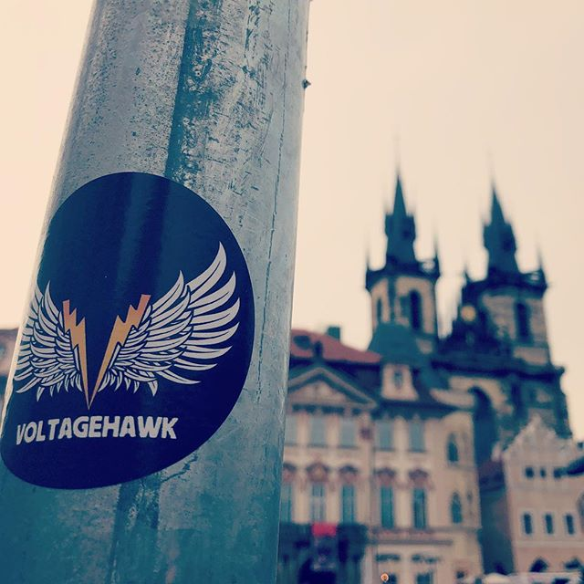 Pozdravy z Praha!!! Greetings from Prague! It's so ugly here, good thing this sticker spruces up the place... #prague #czechrepublic #europe #churchofourladybeforetyn #architecture #skyline #rocknroll #band #stickers