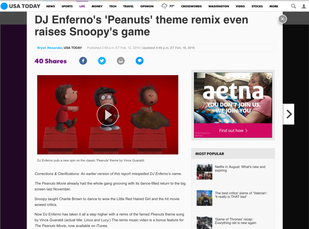 USA Today - Enferno Peanuts Remix
