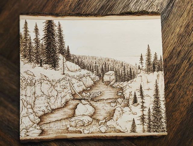 feeling inspired by @maggie.mayonnaise this week🍂 love seeing such detailed #pyrographyart especially about our beautiful #idahome ❤️