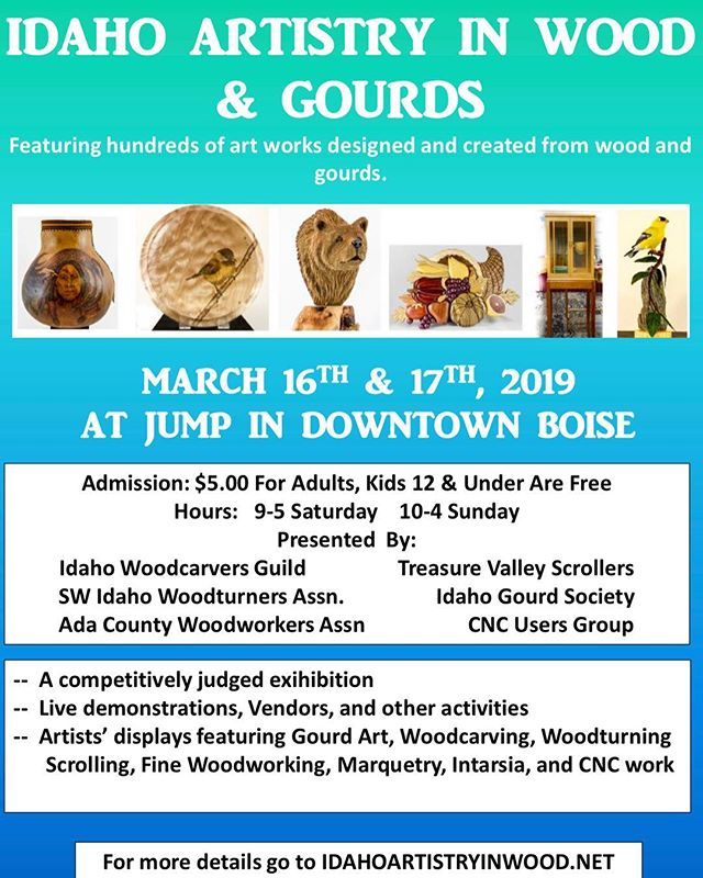 Just a few weeks left til our show March 16th & 17th! 🌲 also if you haven't signed your pieces up yet to show off to the public, it's not too late! You can register the day before the show as well - find out more details at idahoartistryinwood.net