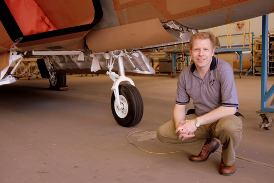 John & a set of F-22 nose landing gear.
