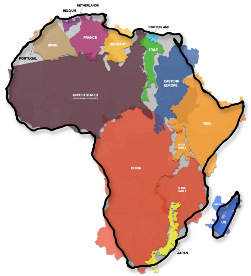 The true size of Africa, a project by  Kai Krause  & adapted by  The Economist .
