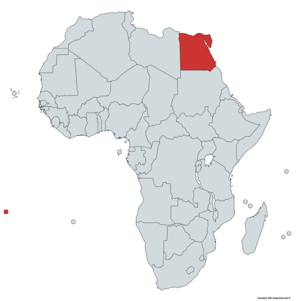 Egypt is located on the North Eastern tip of Africa.  Map courtesy of    mapchart.net   .