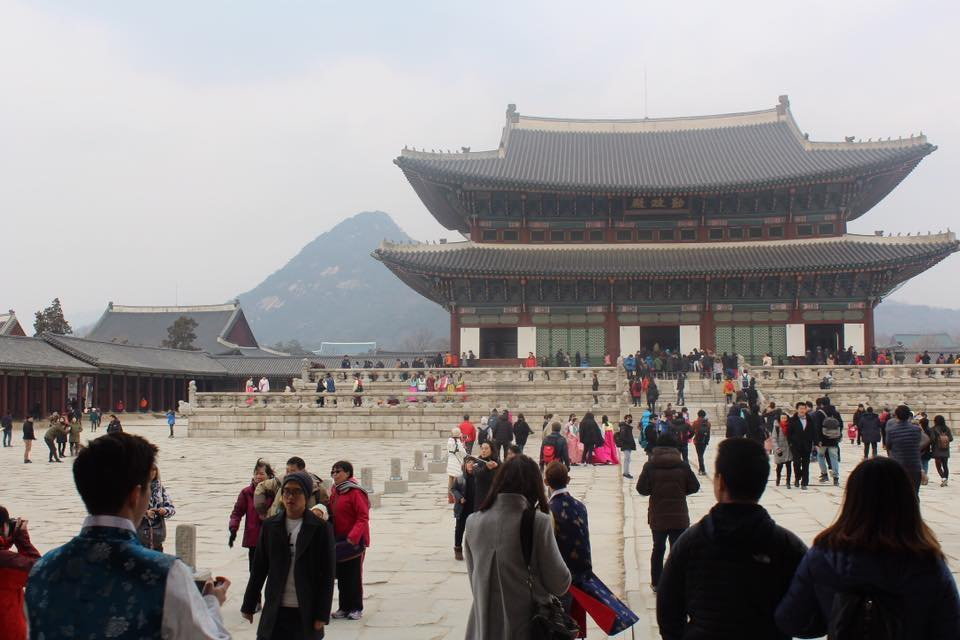 Gyeongbokgung Palace with some of the most amazing looking mountains in the background.