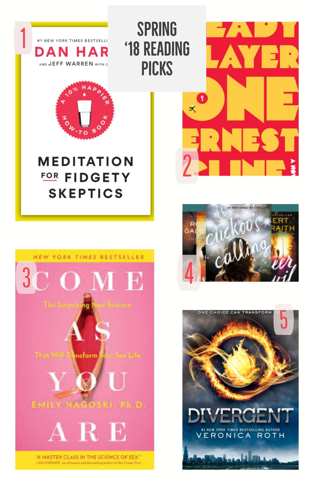 1. Meditation for Fidgety Skeptics by Dan Harris                           2. Ready Player One by Ernest Cline 3. Come As You Are by Dr. Emily Nagoski                                     4. Cormoran Strike series by Robert Galbraith 5. Divergent by Veronica Roth