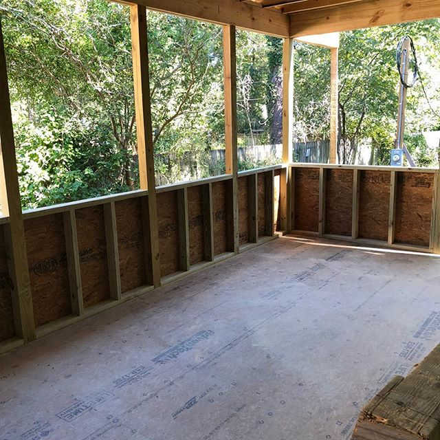 "Screened porch and catio starting to become ""real"" @msharon1957  Our first catio!  Please swipe to see our inspiration pics...I know they keep changing...too many choices😜! #catio #screenedporch #catlovers #cats #catsofinstagram #porch #deck #brick"