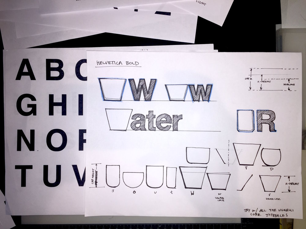 Early tracings of Helvetica Bold