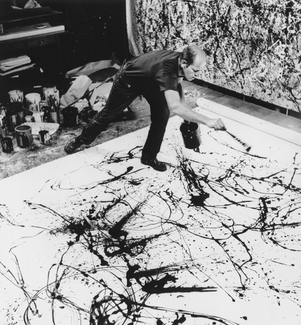 Jackson Pollock in his studio (1950)