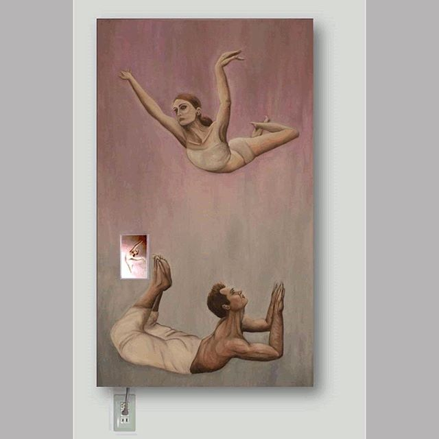 """Within you/ Without you"" oil on canvas, digitally embedded rotating dancer and yogi, 36"" x 60"". 🔌🎨Would you change your stance in a relationship to suit the other person? 🤷🏽‍♂️🤷🏽‍♀️#art #contemporaryart #oilpainting #painting #relationship #artforfreedom #truth"