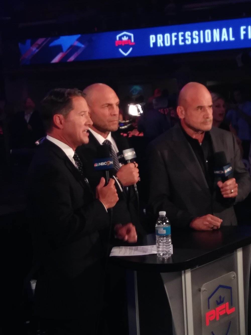 #PFL Broadcast team ( Left to Right) Todd Harris, Randy Couture, Bas Rutten