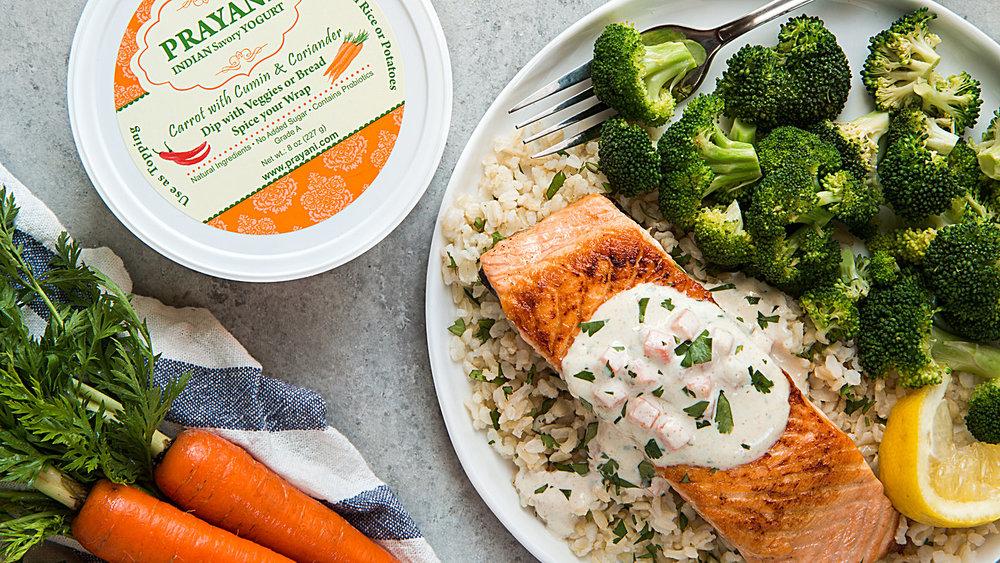 Salmon with Carrot Prayani Yogurt -