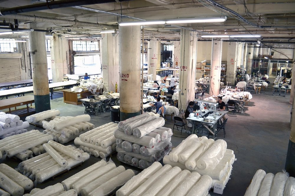 The interior of Groceries Apparel's Los Angeles factory.