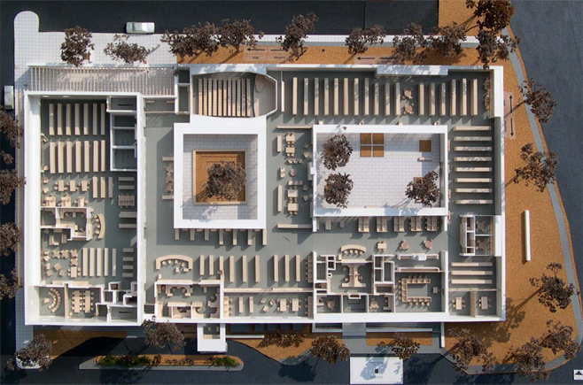Photo of The Wilton Library's layout, Courtesy of TSKP Architects
