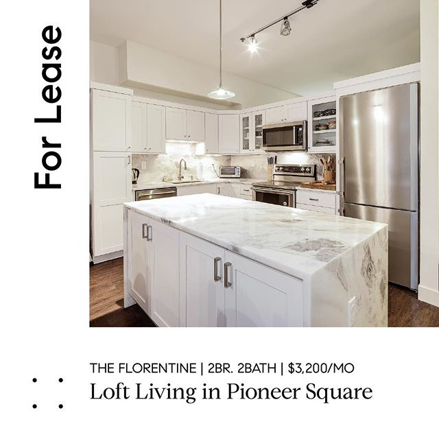 """Located in the heart of historic Pioneer Square, this 2 bedrooms apartment boasts a truly tasteful renovation that gives new meaning to the phrase """"move-in ready"""". Available for lease now. #realestatelife #carrarakitchen #bathroomdecor #lovewhereyoulive #compass #compasseverywhere #realestate #seattlerealestate #Pioneersquare #loftliving #condoliving"""