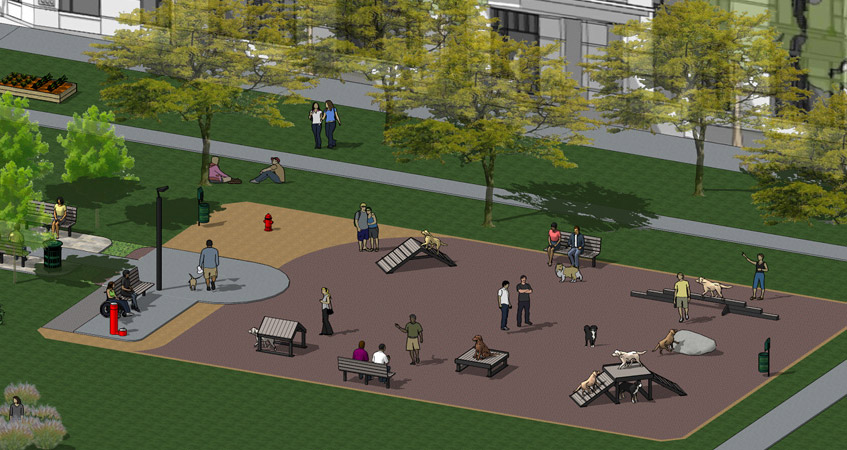Run and Play ™ - The ultimate outdoor dog park. A great solution for large public and private parks – this amazing design will become the center of attraction. Approximately 4000 sq ft.