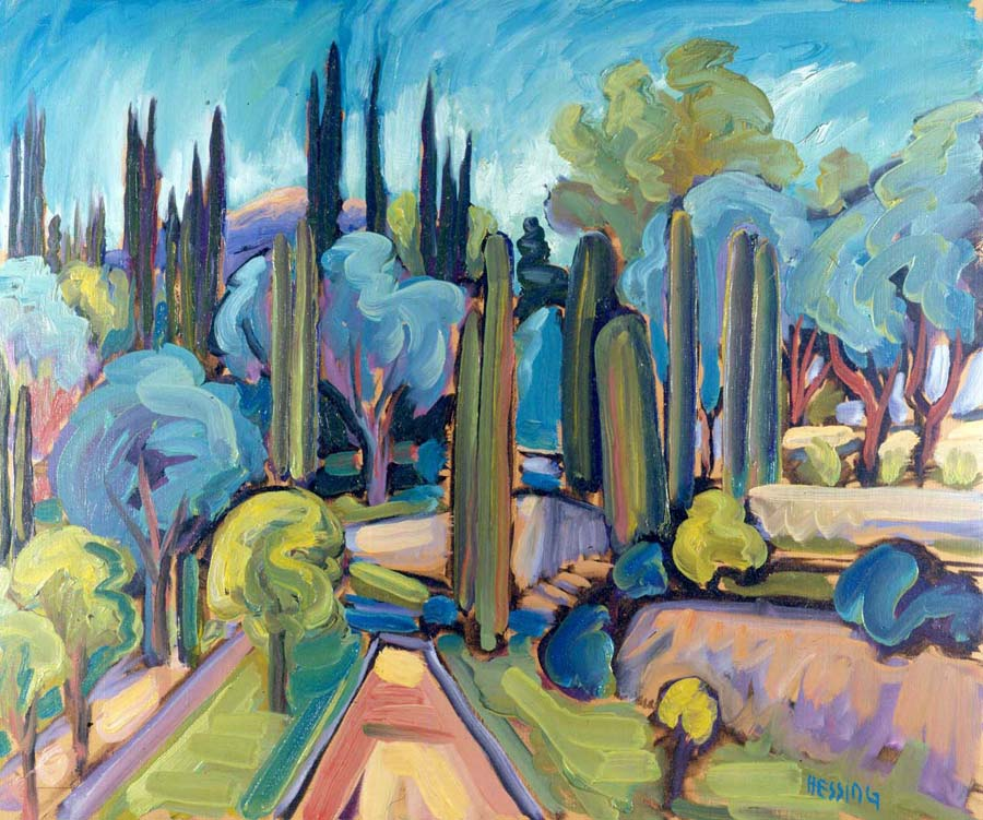 "Jeffrey Hessing  Trees and Path  Oil on canvas 21.5 x 25.5"" JH164"