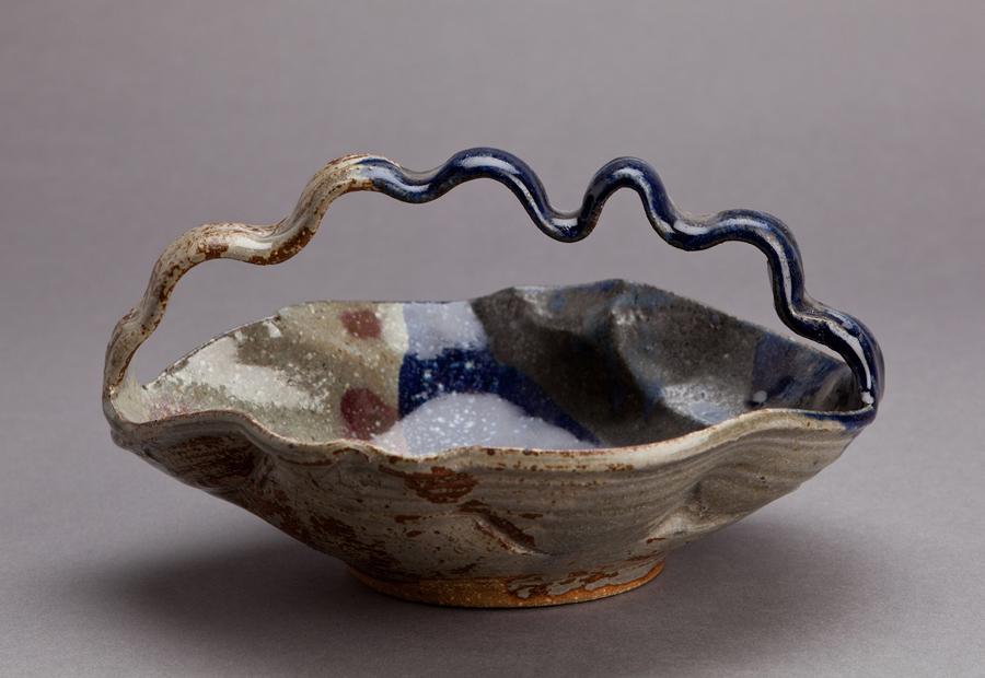 "Makoto Yabe  Bowl with handle (Tetsuki Bachi), tri-colored clay with wood ash glaze  Stoneware 5 x 9 x 9.5"" MY192"