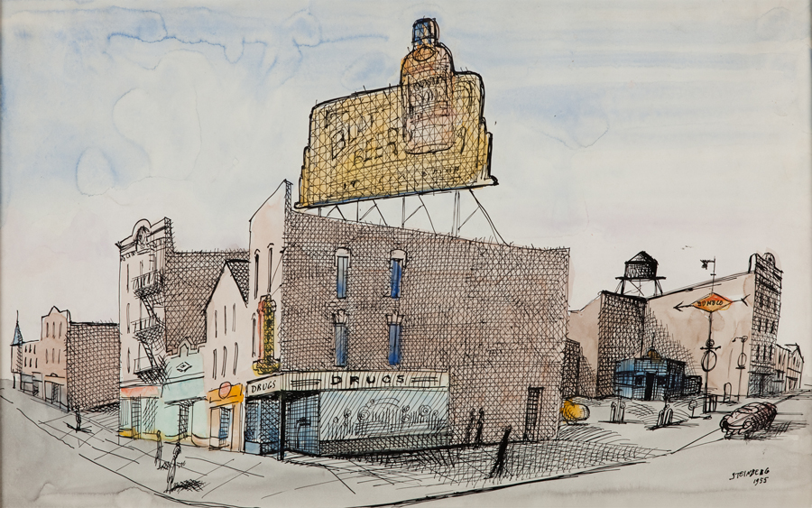 "Saul Steinberg  North Carolina  Ink and watercolor on paper 14.5 x 23"" SS5"