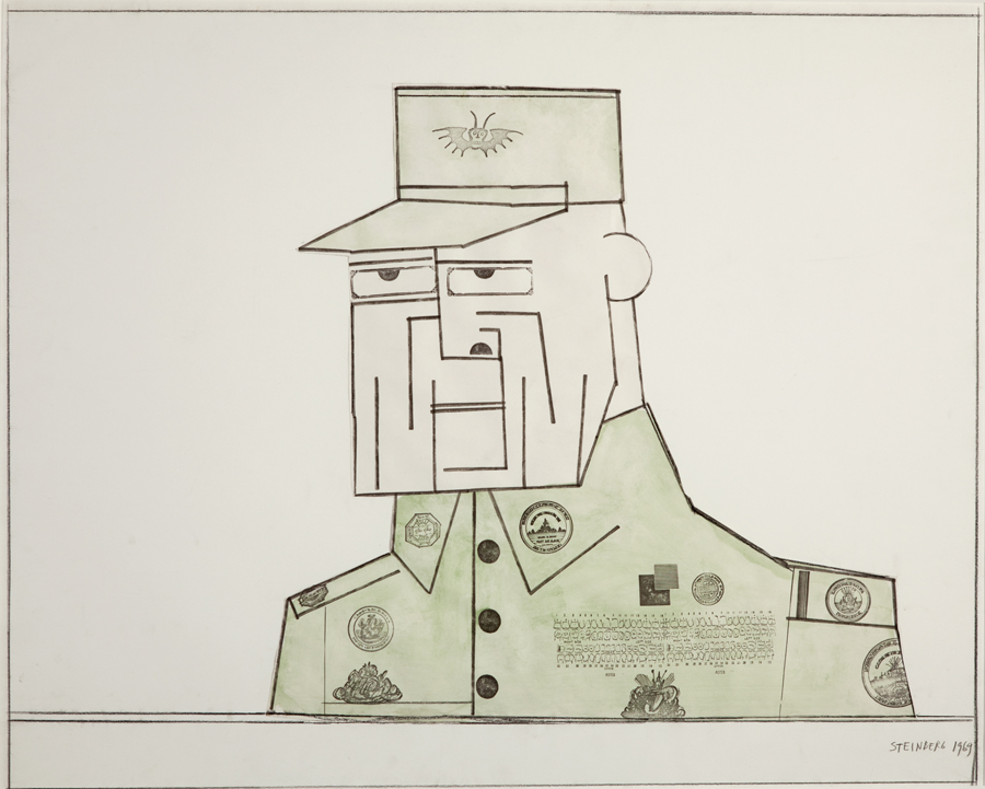 "Saul Steinberg  General A  Watercolor and rubberstamp on paper 28.75 x 34.75"" SS6"