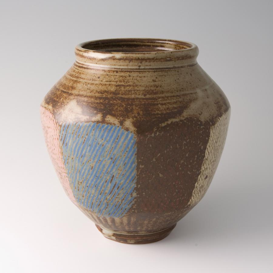 "Tatsuzo Shimaoka  Faceted jar, rope and slip inlay with ash glaze  Stoneware 8.5 x 7.75 x 7.75"" 73 with wooden box"