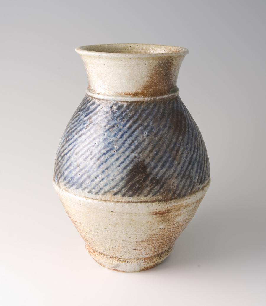 "Tatsuzo Shimaoka  Vase, rope and slip inlay with cobalt blue salt glaze  Stoneware 9.25 x 7.25 x 7.25"" 146 with wooden box"