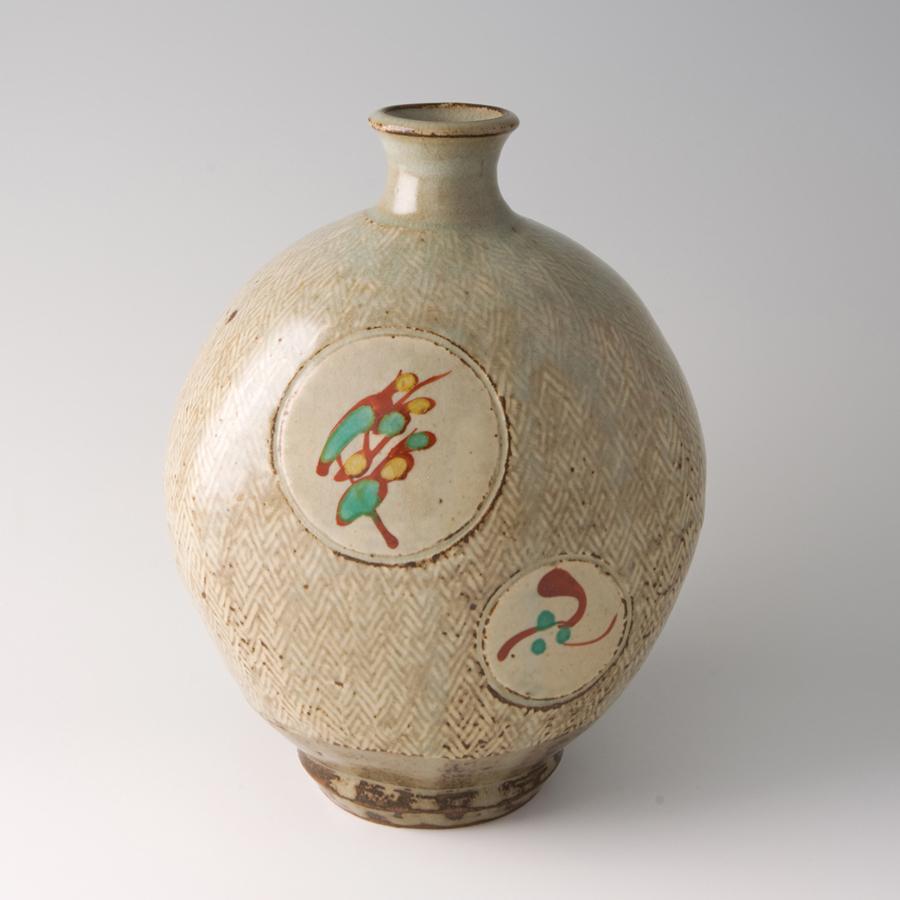 "Tatsuzo Shimaoka  Bottle, rope and slip inlay with wax resist overglaze enamel decoration  Stoneware 9.25 x 7.5 x 7.5"" 152 with wooden box"