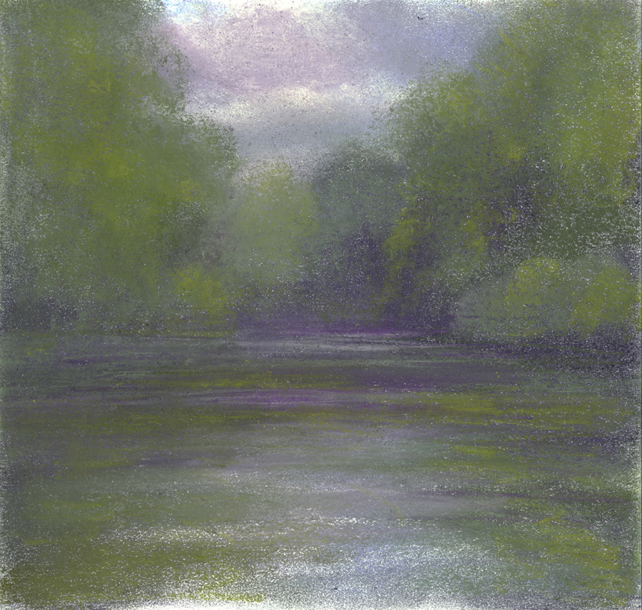 "Jim Schantz  Housatonic Morning II  Pastel on paper 9 x 9"" JMS727"