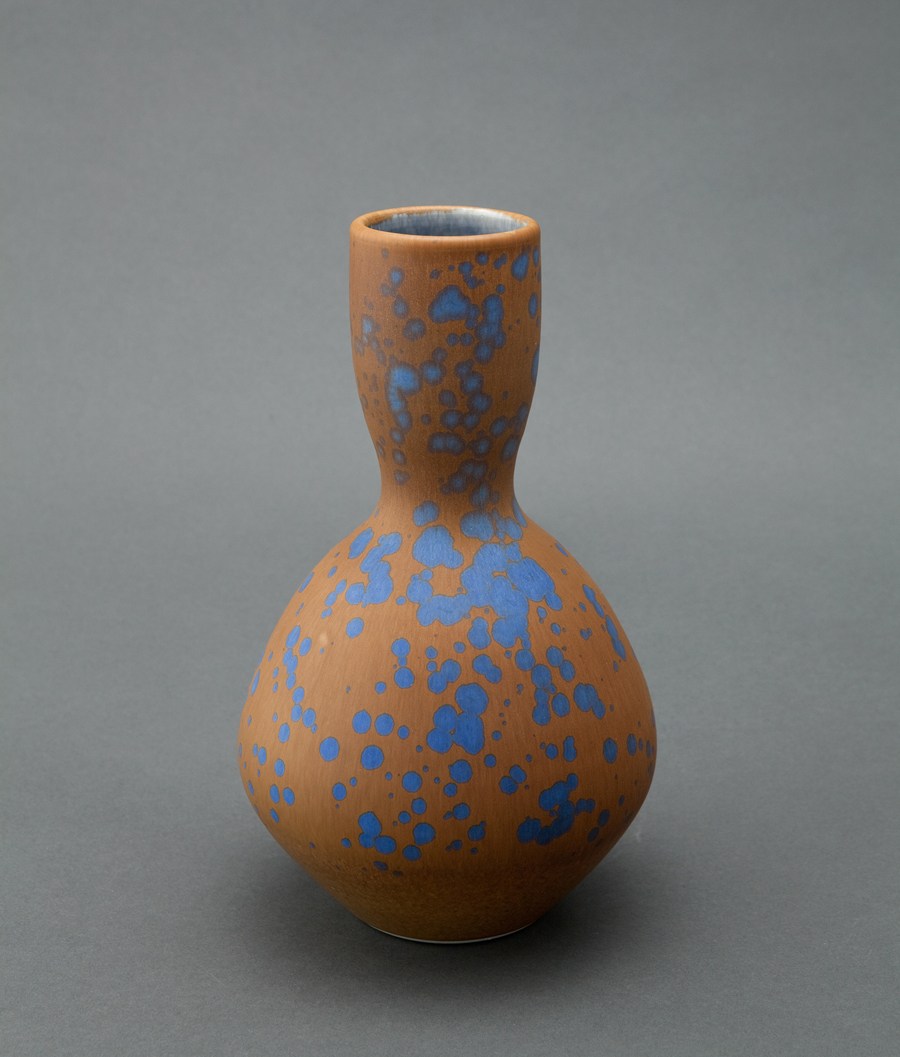 """Ben Owen III  Bottle, blue stardust glaze  Porcelain 9.5 x 6 x 6"""" BO44"""