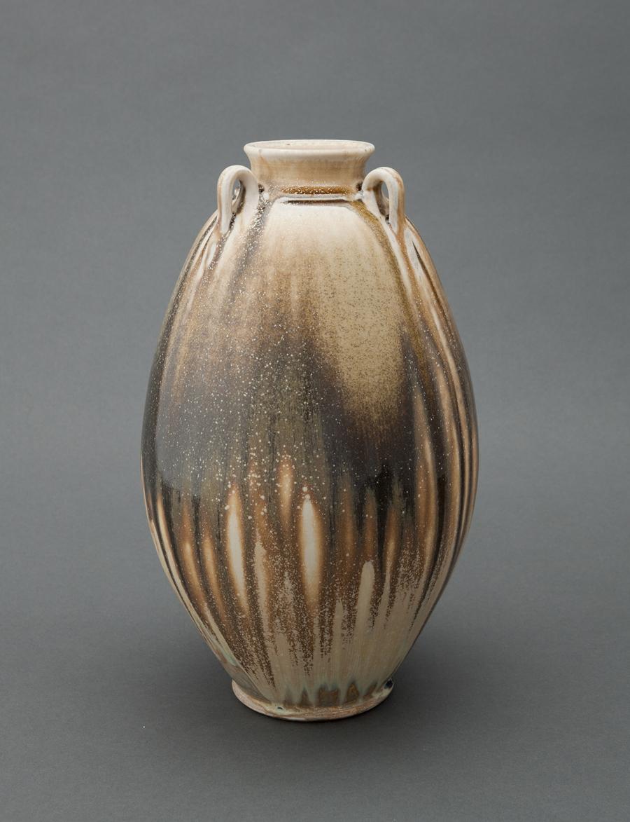 """Ben Owen III  Edo jar, ash glaze  Porcelain 12.5 x 7.25 x 7.25"""" BO73"""
