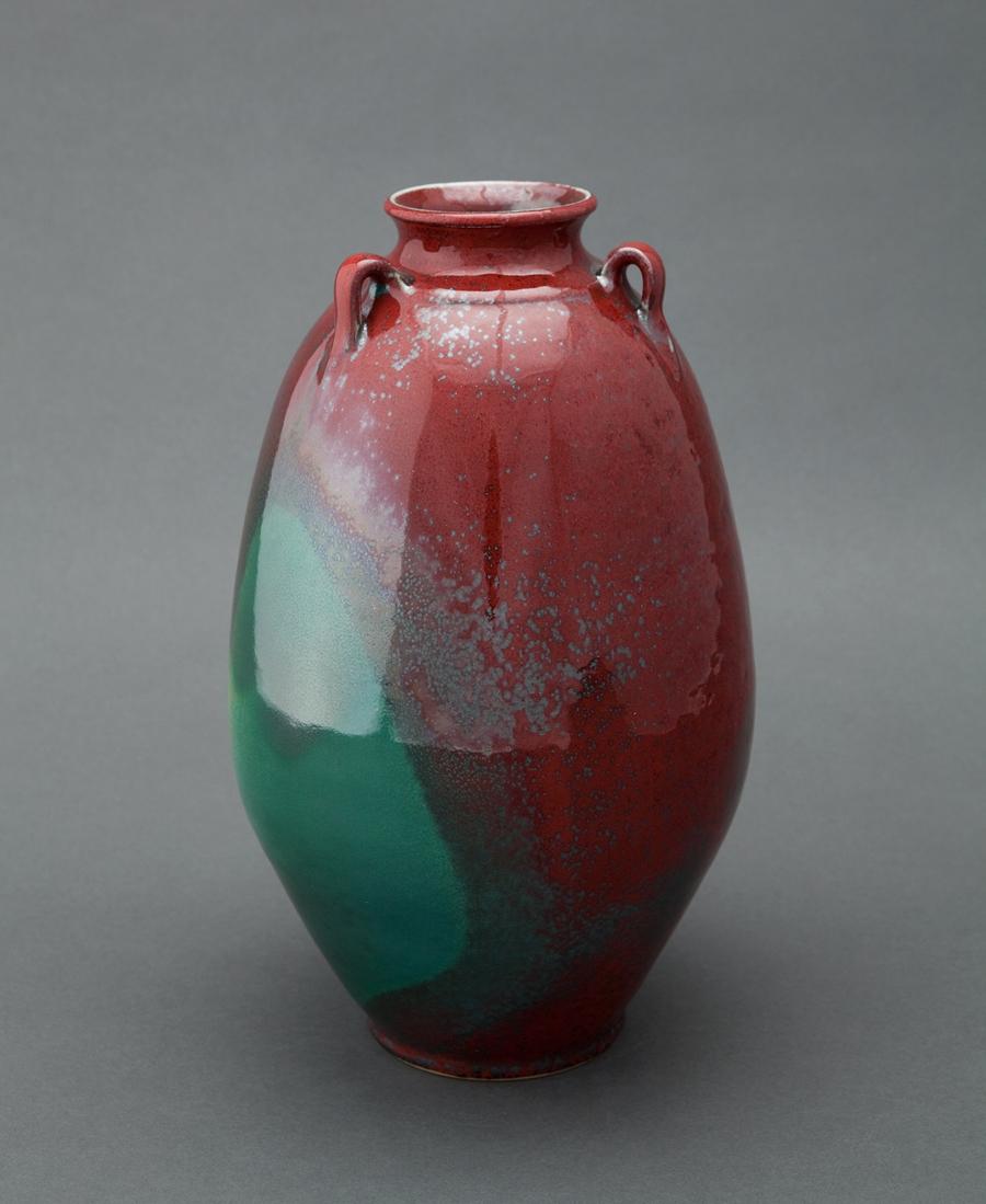 "Ben Owen III  Edo jar, Chinese blue and red glaze  Porcelain 12.5 x 7.25 x 7.25"" BO78"