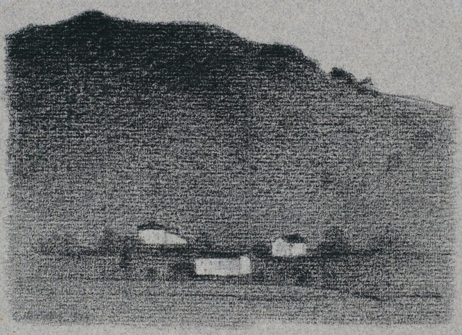 "Gunnar Norrman  I Pyreneerna (In the Pyrenees)  Charcoal 5 x 6.75"""