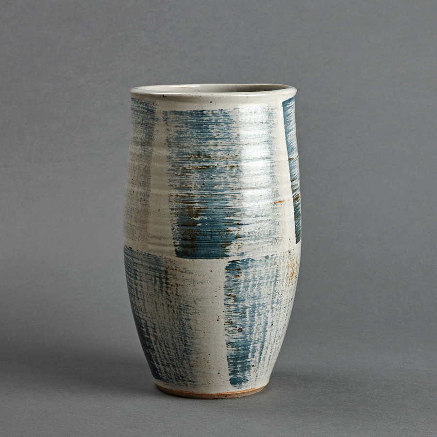"Young Jae Lee  Cylindrical vase, petalite and feldspar glaze with engobe brushwork  Stoneware 12.25 x 7.25 x 7.25"" YL258"