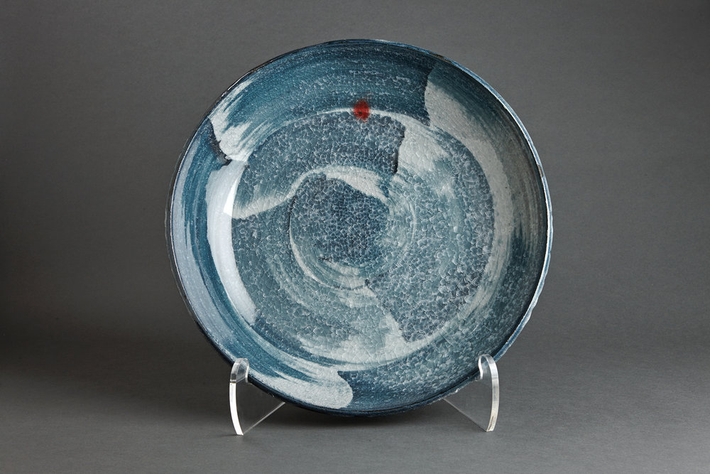 "Young Jae Lee  Plate, chalk and feldspar glaze with engobe brushwork  Stoneware 4 x 20.25 x 20.25"" YL268"