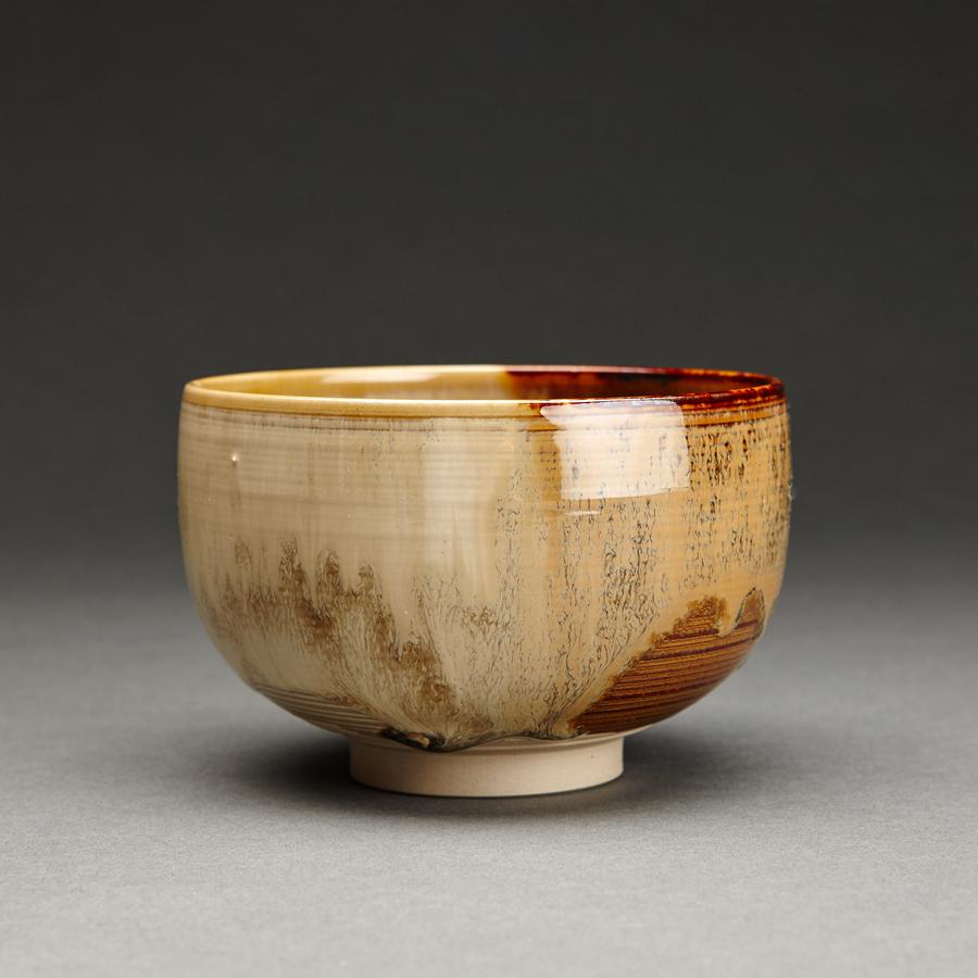 "Miraku Kamei XV  Tea bowl (chawan), kakewake  Stoneware 3 x 4.5 x 4.5"" XV106"