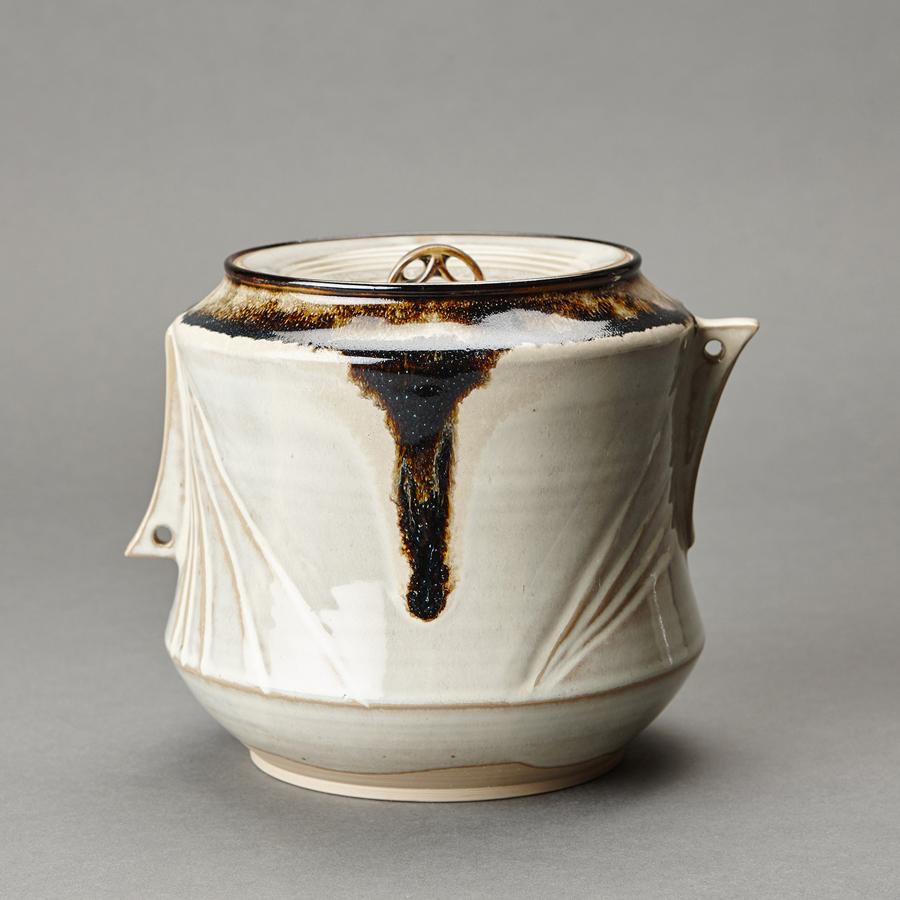 """Miraku Kamei XV  Water container (mizusashi) with ceramic lid, white glaze  Stoneware 6.75 x 7.75 x 7"""" XV95"""