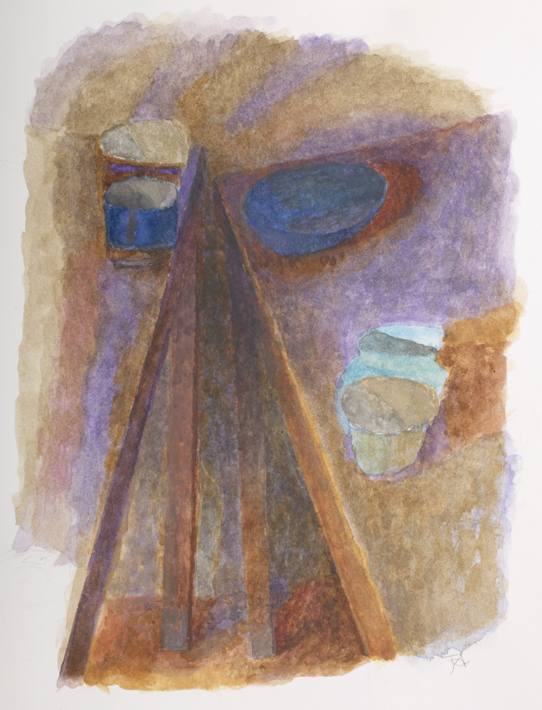 "Joseph Ablow  Tables Askew  Watercolor and gouache on paper 12.25 x 9"" JA204"
