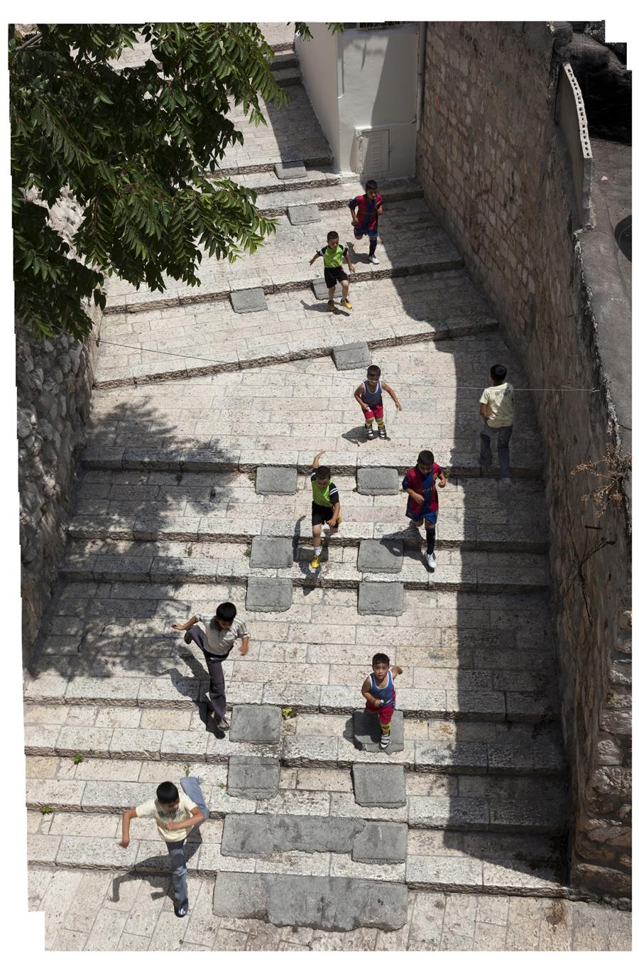 "Bill Aron  Tallit Steps Revisited, Jerusalem  Archival inkjet print on Epson Ultra Smooth Fine Art paper, 1/18 19.75 x 13"" AB19"