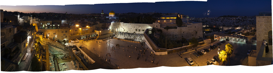 "Bill Aron  Western Wall Plaza at Night  Archival inkjet print on Epson Ultra Smooth Fine Art paper, 6/18 9.75 x 40"" AB1"