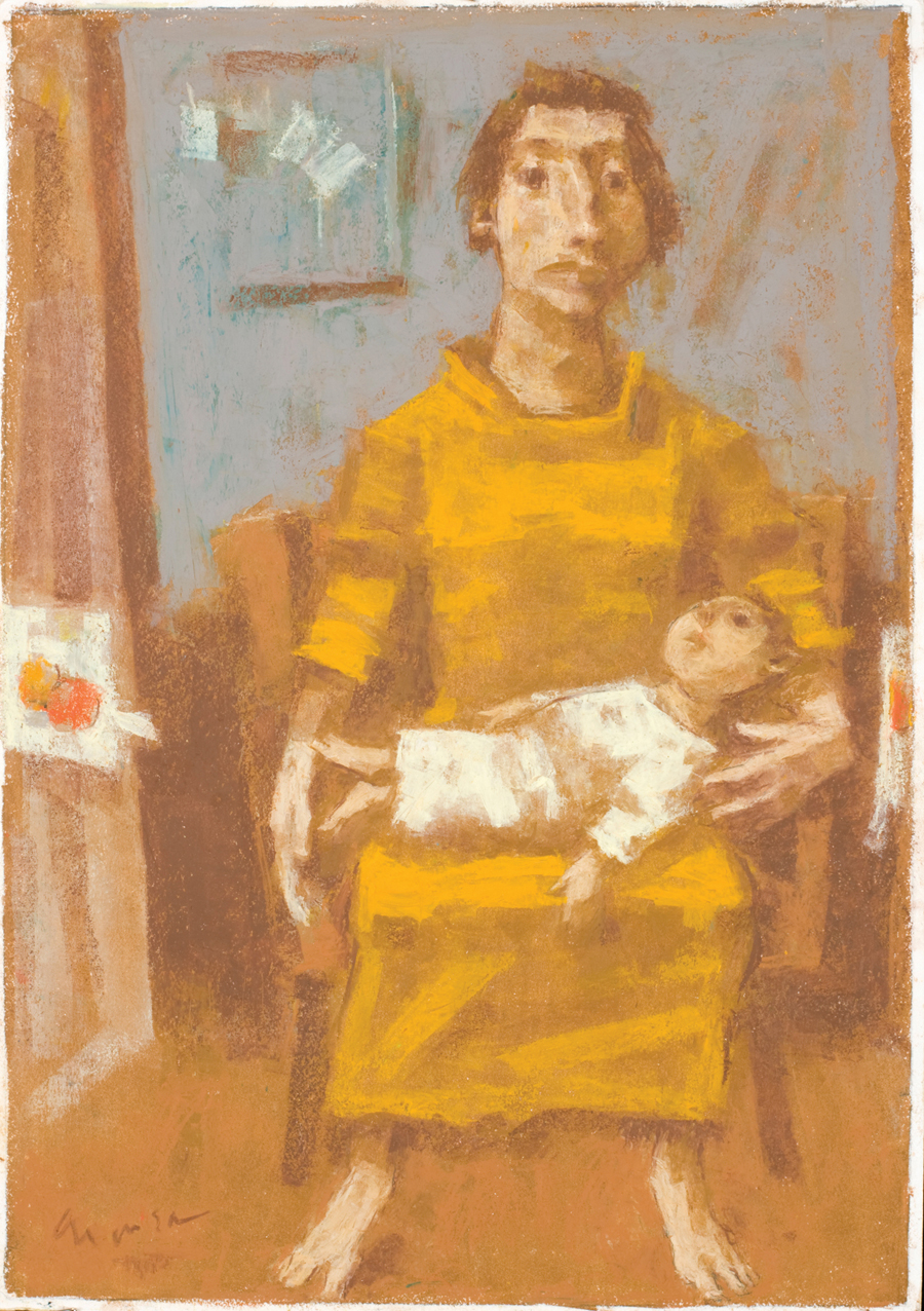 """David Aronson  Father and Child  Oil pastel 18 x 12.5"""" AP238"""