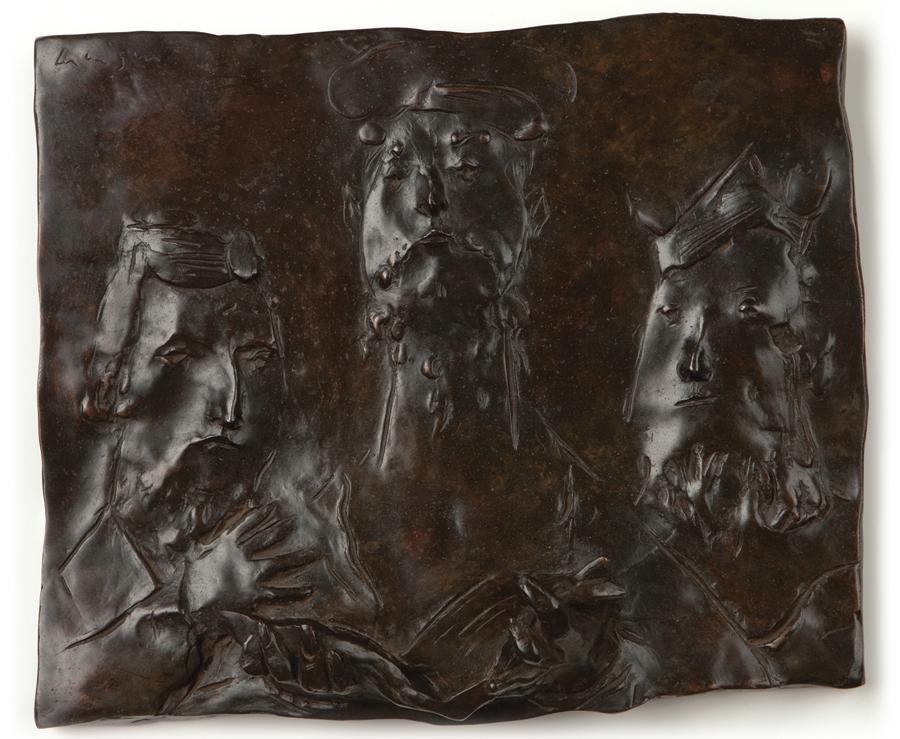 "David Aronson  Three Scholars  Bronze, 20/25 9.25 x 11 x 2.5"""