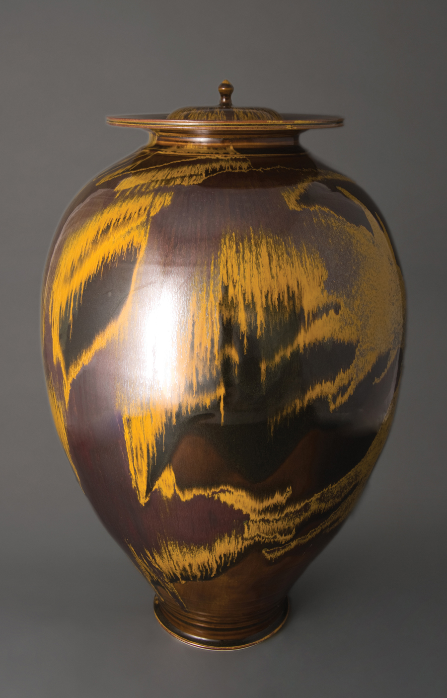 "Brother Thomas Bezanson  Vase with Alternate Lids, Iron Yellow Glaze  Porcelain 24 x 15 x 15"" TH1234B"