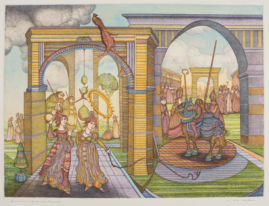 "Zevi Blum  Renaissance & Quattrocento Pursuits & Concerns  Hand colored etching, I/V 17.5 x 23.75"" ZB126"