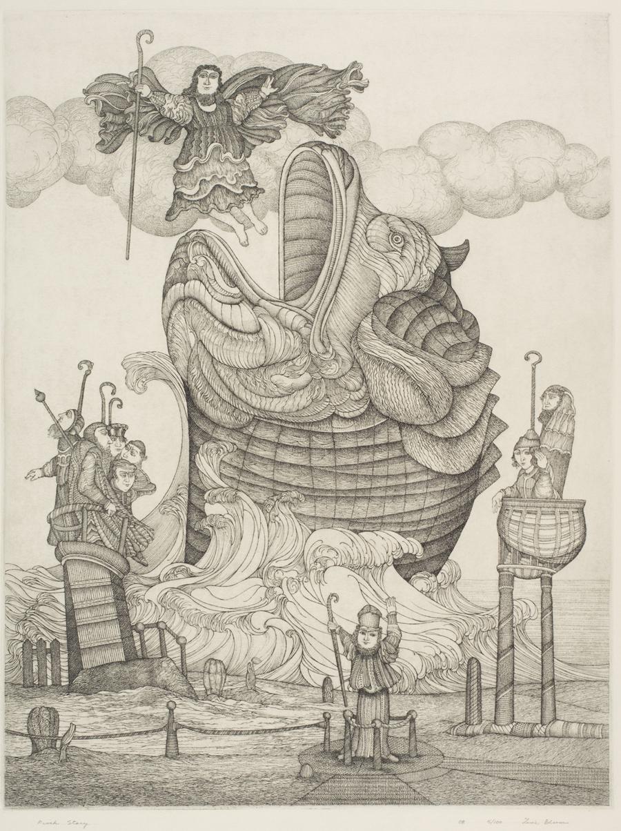 "Zevi Blum  Fish Story  Etching, black and white, 5/100 23.75 x 17.5"" ZB108"
