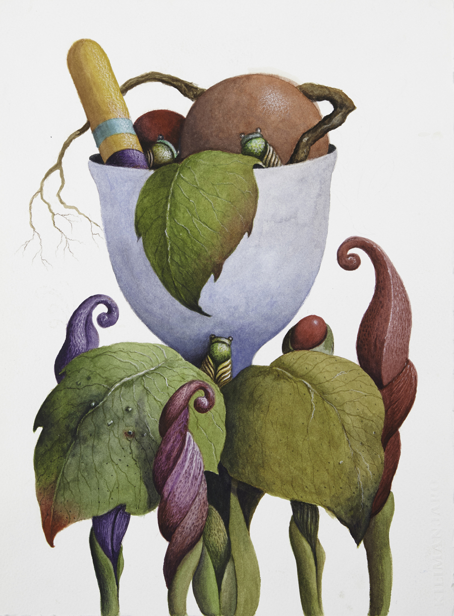 """Roger Bowman  Magic Garden  Watercolor and gouache on paper 15 x 11"""" RB231"""