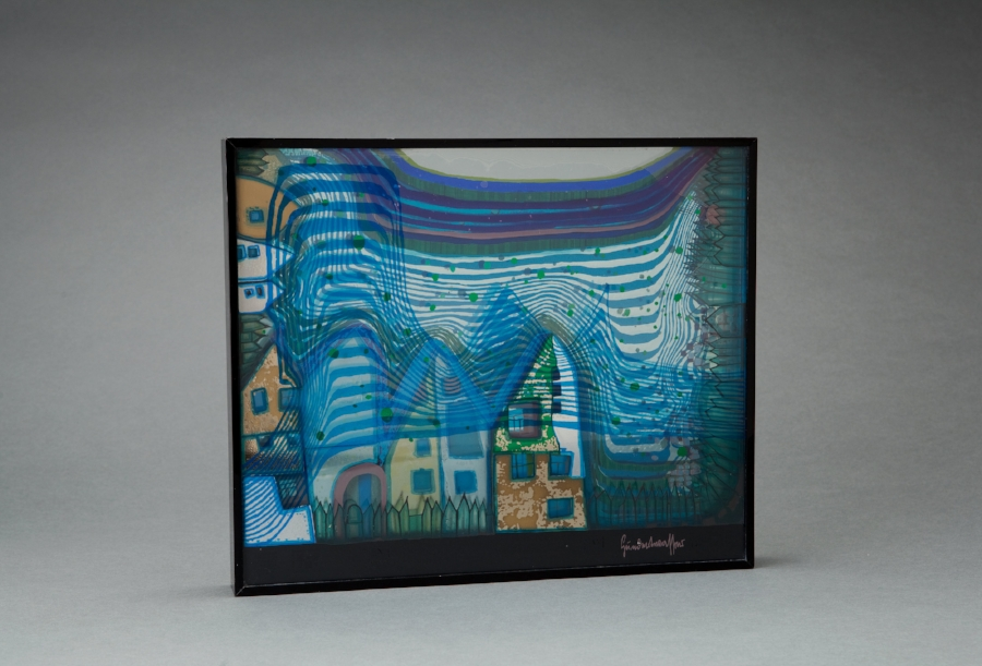 "Friedensreich Hundertwasser  Fall in Cloud, Fall in Fog, Fall Out  3-D Object; silkscreens and metallic embossing in colors on 5 plexiglas panels 12 x 14.5 x 2"" HWG780"