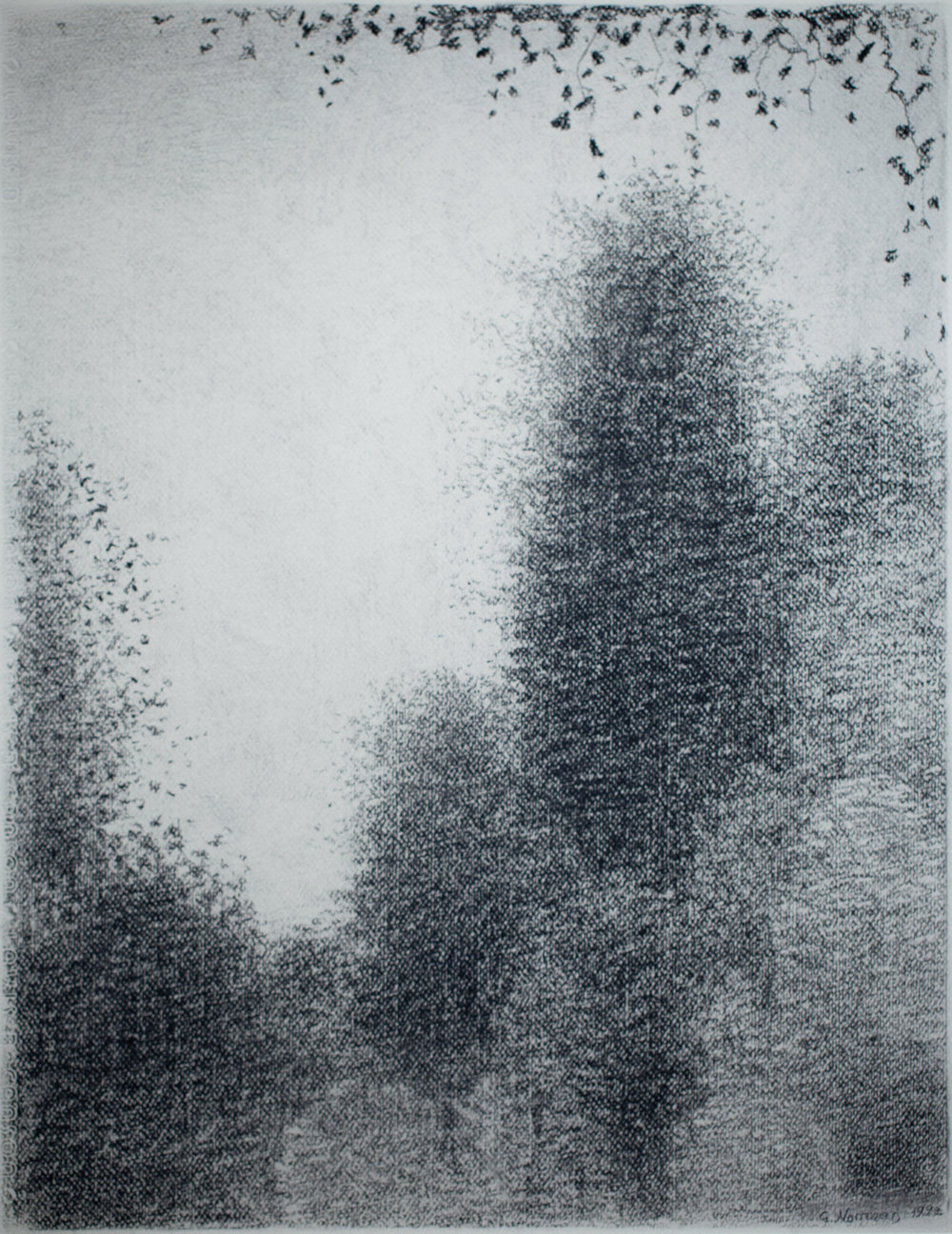 """Gunnar Norrman I Parken (In the Park)  Charcoal 518.25 x 14"""""""